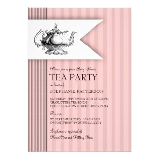Elegant Tea Ticking Stripe Baby Shower Tea Party Personalized Invites