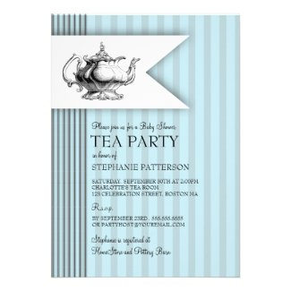 Elegant Tea Ticking Stripe Baby Shower Tea Party Custom Invitations