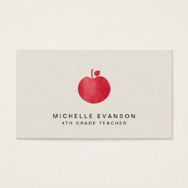 Beach Themed Elegant Teacher Professional Instructor Red Apple Business Card