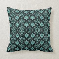 Elegant Teal and Black Damask Patterns Throw Pillow