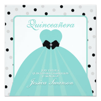 Elegant Teal and Black Formal Gown Quinceañera 5.25x5.25 Square Paper Invitation Card