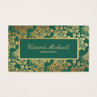Elegant Teal and Gold Floral Business Card