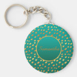 Elegant Teal and Gold Monogram Keychain