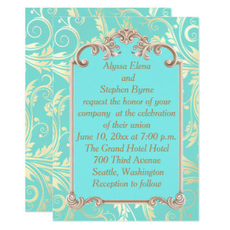Elegant Teal and Gold Wedding Invitation