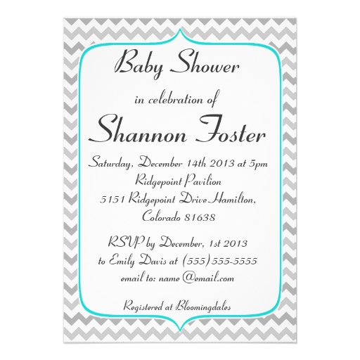 Elegant Teal and Gray Chevron Baby Shower Announcements