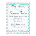 Elegant Teal and Gray Chevron Baby Shower 5x7 Paper Invitation Card
