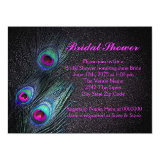 Elegant Teal and Hot Pink Peacock Bridal Shower 6.5x8.75 Paper Invitation Card