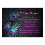 Elegant Teal and Hot Pink Peacock Bridal Shower Invite
