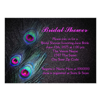 Elegant Teal and Hot Pink Peacock Bridal Shower Personalized Invitations