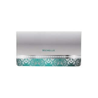 Elegant Teal and Silver Lace Checkbook Cover