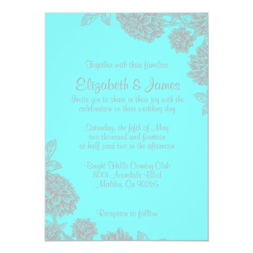 Elegant Teal And Silver Wedding Invitations