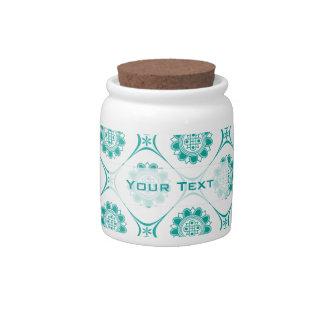 Elegant Teal Asian Inspired Geometric Design Candy Jars