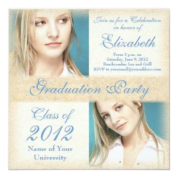 Beach Themed Elegant Teal Beige Graduation Party Invitations