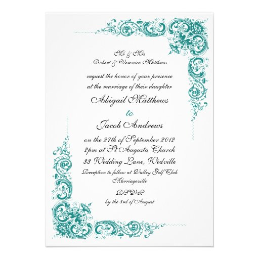 Elegant teal black and white wedding invitation zazzle