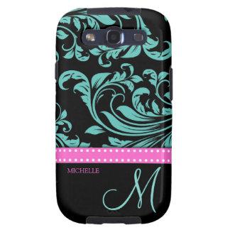 Elegant Teal & Black Damask Pattern with Monogram Samsung Galaxy SIII Cover