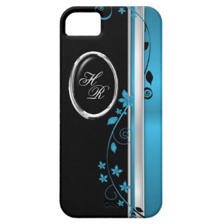 Elegant Teal & Black Floral Monogram iPhone 5 Case