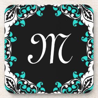 Elegant Teal Black & White Design with Monogram Drink Coaster