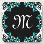 Elegant Teal Black & White Design with Monogram Drink Coasters