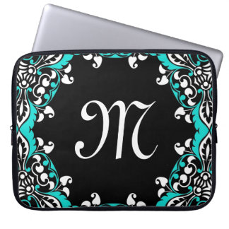 Elegant Teal Black & White Design with Monogram Laptop Sleeve