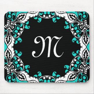 Elegant Teal Black & White Design with Monogram Mouse Pad