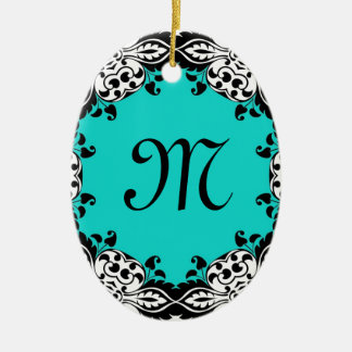 Elegant Teal Black & White Design with Monogram Christmas Tree Ornaments