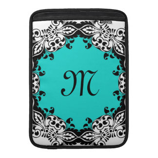 Elegant Teal Black & White Design with Monogram Sleeve For MacBook Air