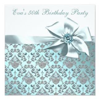 Elegant Teal Blue 50th Birthday Party Card