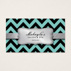 Elegant Teal Blue And Black Chevron Pattern Business Card at Zazzle