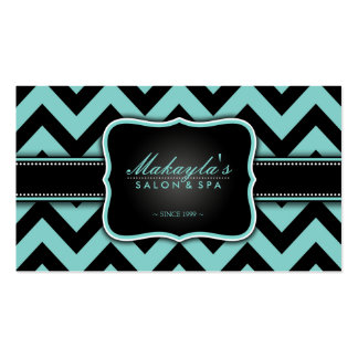 Elegant Teal Blue and Black Chevron Pattern Business Card Template