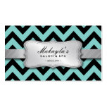 Elegant Teal Blue and Black Chevron Pattern Double-Sided Standard Business Cards (Pack Of 100)