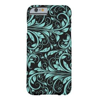 Elegant teal blue and black damask floral pattern iPhone 6 case