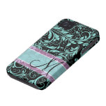 Elegant teal blue and black damask with monogram iPhone 4 cover