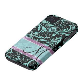 Elegant teal blue and black damask with monogram Case-Mate iPhone 4 case