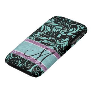 Elegant teal blue and black damask with monogram iPhone 3 cases