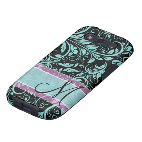 Elegant teal blue and black damask with monogram samsung galaxy SIII cover