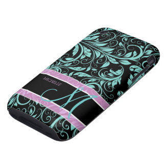 Elegant teal blue and black damask with monogram tough iPhone 3 cases