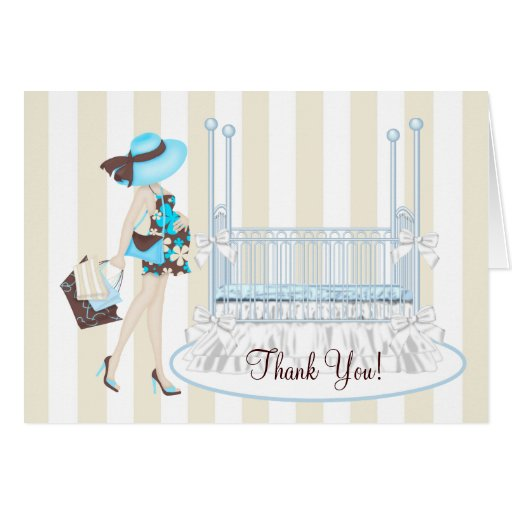 Elegant Teal Blue And Brown Baby Shower Thank You Card Zazzle