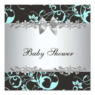 Elegant Teal Blue and Gray Baby Shower Announcements