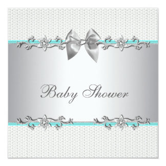 Elegant Teal Blue and Gray Baby Shower Invites