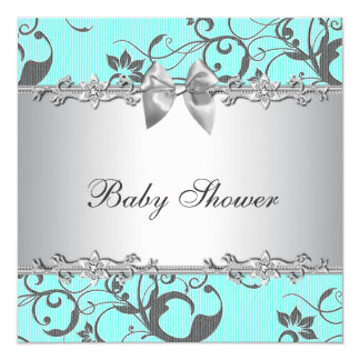 Elegant Teal Blue and Gray Baby Shower Invite