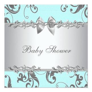 Elegant Teal Blue and Gray Baby Shower Custom Invite