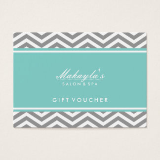 Elegant Teal Blue and Gray Chevron Gift Voucher Business Card