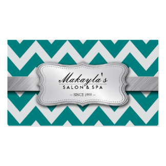 Elegant Teal Blue and Gray Chevron Pattern Double-Sided Standard Business Cards (Pack Of 100)