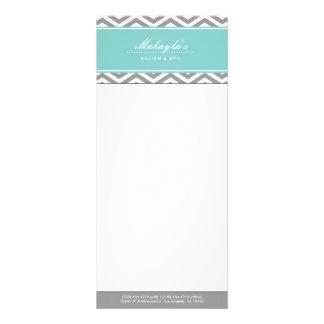 Elegant Teal Blue and Gray Chevron Price List Rack Card