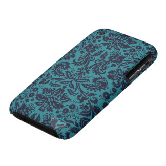 elegant teal blue and midnight damask iPhone 3 cases