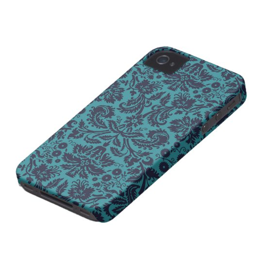 elegant teal blue and midnight damask iPhone 4 case