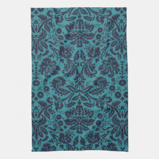 elegant teal blue and midnight damask towels