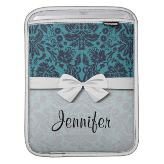 elegant teal blue and midnight damask sleeve for iPads