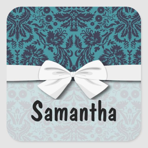 elegant teal blue and midnight damask square sticker