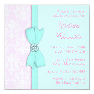 Elegant Teal Blue and Pink Baby Girl Shower Card